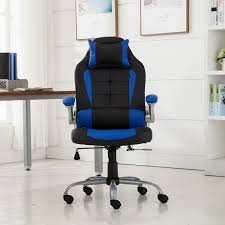 Blue Leather Executive Office Chair Belleze High Back Ergonomic Pu Leather Racing Chair Onebigoutlet Com