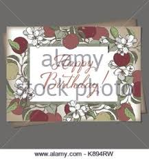 romantic a4 birthday card template with calligraphy and roses