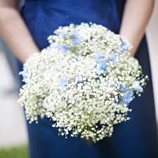 baby s breath bouquet baby s breath and blue delphinium bouquet wedding flower