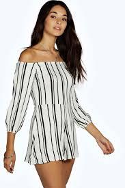 boohoo clothing lissa stripe the shoulder playsuit boohoo