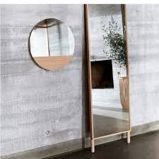 Nordic Decoration Home Round Mirror With Wood Element Hübsch Nordic Decoration Home