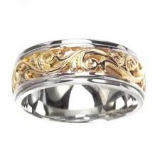 two tone mens wedding bands sea of diamonds men s 14k two toned gold elaborate engraved carved