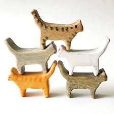 wooden cat figurine cat wooden wood toys cats wood