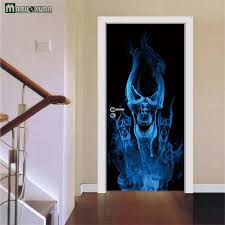 Bathroom Door Stickers Aliexpress Com Buy Maruoxuan 3d 3d Flame Skul Door Stickers