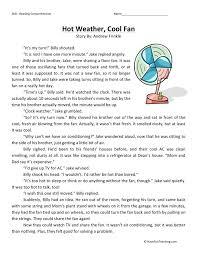 reading comprehension worksheet weather cool fan