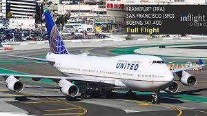 united airlines boeing 747 400 full flight frankfurt to san