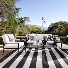 Outdoor Mats Rugs Patio Stripe Indoor Outdoor Rug Black Williams Sonoma