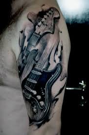 tattoo 3d guitar 65 guitar tattoos for men acoustic and electric designs
