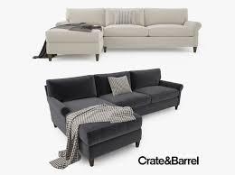 crate and barrel montclair 2 piece sectional sofa 3d model max obj