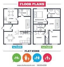 Icon Floor Plan Architecture Plan Furniture House Floor Plan Stock Vector