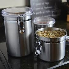 Stainless Steel Kitchen Canister Sets Amazon Com Anchor Hocking Round Stainless Steel Airtight Canister