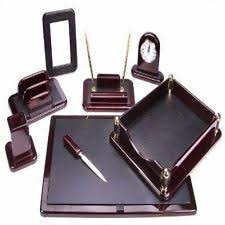 Office Desk Accessories Set Leather Desk Organizer Ebay