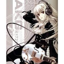 Anime Girl Headphones Black Lace Dress Albino Headphone Back