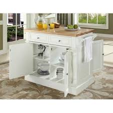 crosley furniture butcher block top kitchen island in white finish