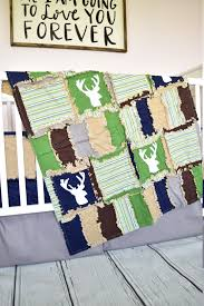 Deer Nursery Bedding Woodland Crib Set Navy Green Brown Rustic Bedding