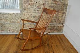 michael nieman hand made walnut rocking chair in the style of sam