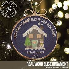 wood slice ornament new home with