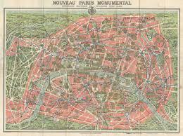 Paris France Map by File 1928 A Leconte Map Of Paris France W Monuments