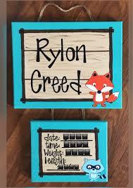 fox themed birth announcement hospital door sign diy arts and