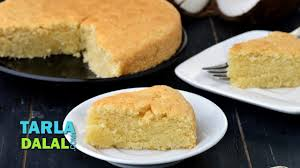 coconut cake recipe eggless coconut cake by tarla dalal youtube