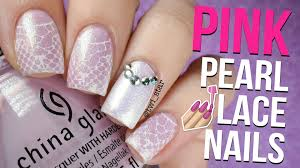 girly pink pearl lace stamping nail art twi star youtube