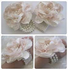Wrist Corsage Supplies Wrist Corsage Ivory And Champagne 4 Romantic By Theraggedyrose