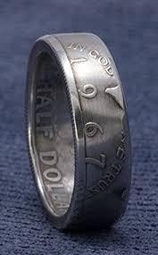 52nd wedding band 1965 jfk kennedy coin ring 40 silver us half dollar side