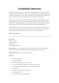 custodian resume sample resume templates