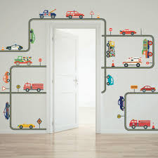 Cars Trucks U0026 Ems Vehicles Wall Decals Plus Gray Road Curved And