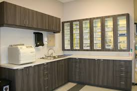 veterinary surgery prep area with glass pass through cabinets into