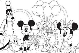 birthday mickey mouse coloring pages birthday coloring pages