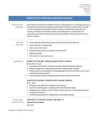 Substitute Teacher Resume Job Description Day Care Teacher Resume Recommendation Letter Sample For Teacher