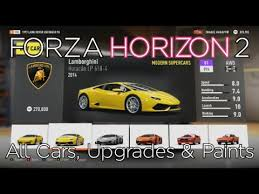 forza horizon 2 all cars upgrades u0026 paint options