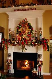 christmas decorated fireplace images cheerful lights decoration
