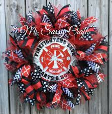 Firefighter Home Decorations Firefighter Wreath Firefighter Deco Mesh Wreath Firefighter