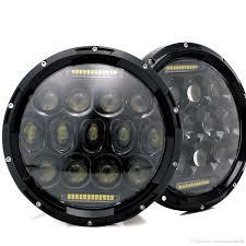 jeep headlights halo 7 75w led headlights bulb halo drl for jeep wrangler jk cj hummer