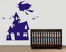 vinyl wall decal witch with broom flying on castle kid bird birds vinyl wall decal witch with broom flying on castle kid bird birds home house art wall