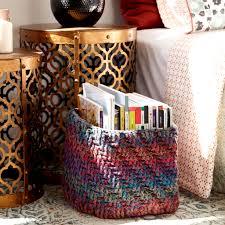 caron big cakes marled crochet basket in plum pudding