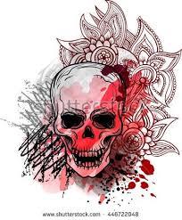 trash skull blood splatter zentangle flowers stock vector