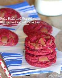 malt ball and chocolate chunk red velvet cookies picky palate