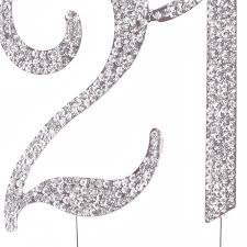 21 cake topper 21 cake topper for 21st birthday silver rhinestone party