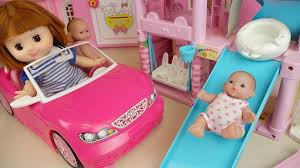 pink toddler car baby doll pink car and slide house toys baby doli play youtube
