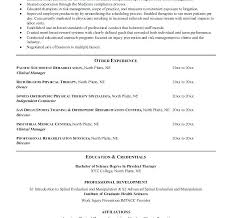 physical therapist resume physical therapy resume trendy inspiration ideas physical therapy
