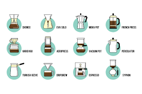 espresso coffee clipart coffe brewing methods icons set on behance
