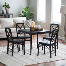 wood folding table and chairs set atme