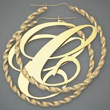 Gold Name Earrings 10k 4mm Big Initial Twisted Hoop Earring 3 Inch Just Like Cassie U0027s