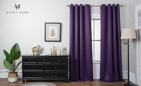 Purple Curtains For Living Room Amazon Com Mysky Home Solid Grommet Top Thermal Insulated Window