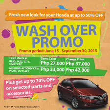 honda offers wash over promo until september 2015 carguide ph