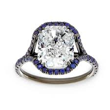 halo split shank engagement ring two by cushion pave blue sapphire halo split shank