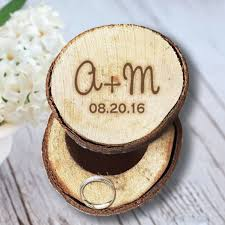 wooden personalized gifts custom our name and date engrave wood wedding ring box
